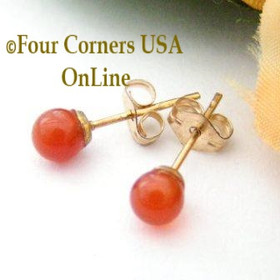 Carnelian 14K Gold Filled 4mm Round Stud Post Pierced Earrings Four Corners USA OnLine Artisan Handcrafted Jewelry