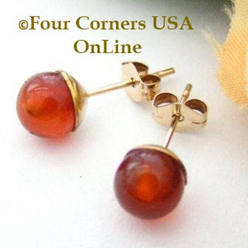 Carnelian 14K Gold Filled 6mm Round Stud Post Pierced Earrings Four Corners USA Handcrafted Artisan Jewelry