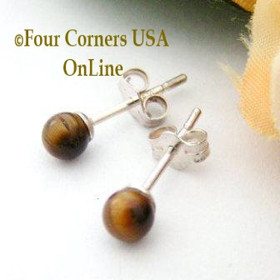 Tiger Eye Sterling Silver 4mm Round Stud Post Pierced Earrings Four Corners USA Handcrafted Artisan Jewelry