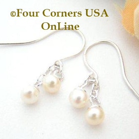 Pearl Petite Double Drop Dangle Sterling Pierced Earrings FCE-12056 Four Corners USA OnLine Artisan Handcrafted Jewelry