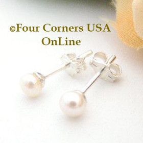 4mm White Freshwater Pearl Stud Post Sterling Silver Pierced Earrings Four Corners USA OnLine Artisan Handcrafted Jewelry FCE-12060