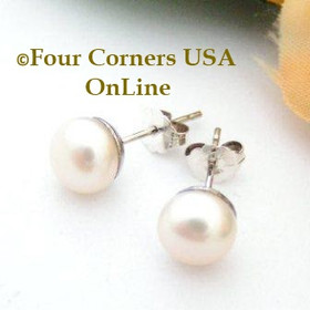 7mm Natural Peach Freshwater Pearl Stud Post Sterling Silver Pierced Earrings  Four Corners USA OnLine Artisan Handcrafted Jewelry FCE-12057