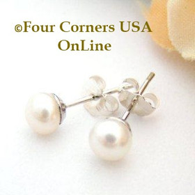 5mm White Freshwater Pearl Stud Post Sterling Silver Pierced Earrings Four Corners USA OnLine Artisan Handcrafted Jewelry FCE-12061