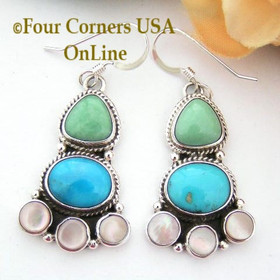 Multi Color Multi Stone Sterling Silver Pierced Earrings Navajo Milton Lee Four Corners USA OnLine Native American Silver Jewelry NAER-13023