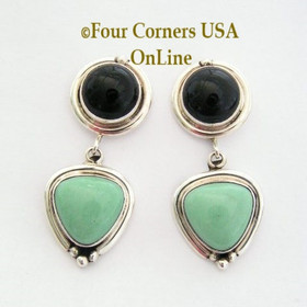 Variscite and Onyx Sterling Post Earrings Navajo Art Platero Four Corners USA OnLine Native American Indian Silver Jewelry NAER-13024