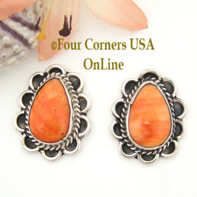 Spiny Oyster Shell Sterling Earrings Post Style Juan Guerro Four Corners USA OnLine American Indian Jewelry NAER-13027
