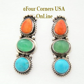 Sleeping Beauty Turquoise Chrysoprase Spiny Oyster Sterling Post Earrings Four Corners USA OnLine Native American Navajo Silver Jewelry NAER-13025