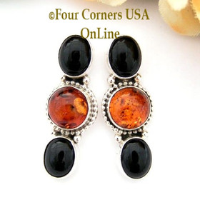 Amber and Onyx Sterling Post Earrings Navajo Annie Lincoln Four Corners USA OnLine Native American Silver Jewelry NAER-13030
