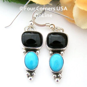 Onyx and Turquoise Sterling Dangle Earrings Navajo Artisan Juan Guerro Four Corners USA OnLine Native American Silver Jewelry NAER-13031