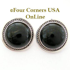 Onyx Sterling Clip On Earrings by Navajo Pansy Johnson Four Corners USA OnLine Native American Silver Jewelry NAER-13032