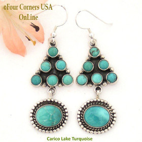 Carico Lake Turquoise Wire Sterling Silver Earrings by Phillip Yazzie Four Corners USA OnLine Native American Navajo Jewelry NAER-130206