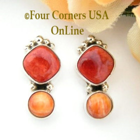 Red and Orange Spiny Oyster Shell Sterling Post Earrings Art Platero Four Corners USA OnLine Native American Silver Jewelry NAER-13038