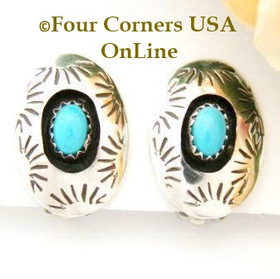 Sleeping Beauty Shadow Box Clip On Earrings Four Corners USA OnLine Native American Navajo Jewelry by Irene Tom NAER-13039
