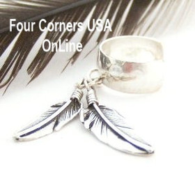 Double Feathers Hammered Sterling Ear Cuff Native American Indian Silver Jewelry Ida McCray FCE-12064 Four Corners USA OnLine