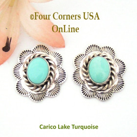 Nevada Carico Lake Turquoise Sterling Concho Earrings Navajo Darlene Platero No 2 Four Corners USA OnLine Native American Silver Jewelry NAER-130212