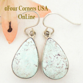 Dry Creek Turquoise Teardrop Stone Earrings Navajo Artisan Shirley Henry Four Corners USA OnLine Native American Silver Jewelry NAER-13049
