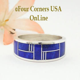 Size 10 Lapis Inlay Sterling Silver Ring Navajo Artisan Aaron Toadlena Four Corners USA OnLine American Indian Jewelry NAR-13011