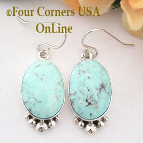 Large Dry Creek Turquoise Stone Sterling Earrings Artisan Shirley Henry Four Corners USA OnLine Native American Jewelry NAER-13056