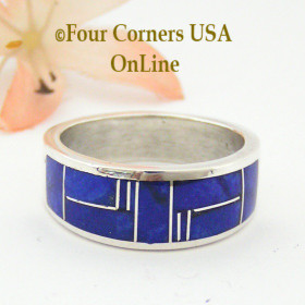 Lapis Inlay Sterling Silver Ring Size 10 1/4 Four Corners USA OnLine Native American Jewelry Navajo Aaron Toadlena NAR-13012