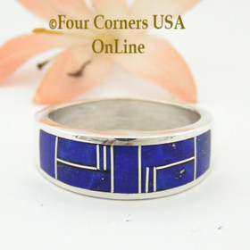 Size 10 1/2 Lapis Inlay Sterling Mens Ring Navajo Artisan Aaron Toadlena Four Corners USA OnLine Native American Silver Jewelry NAR-13013