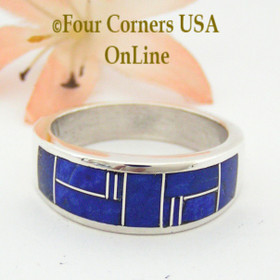 Size 10 1/2 Lapis Inlay Sterling Band Ring Four Corners USA OnLine Native American Jewelry Navajo Silversmith Aaron Toadlena NAR-13014