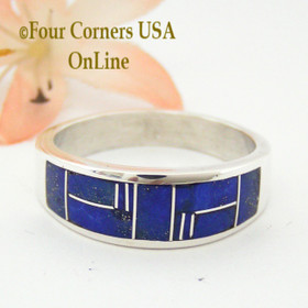 Size 13 1/4 Lapis Inlay Sterling Silver Band Ring Native American Navajo Aaron Toadlena NAR-13016 Four Corners USA OnLine Jewelry