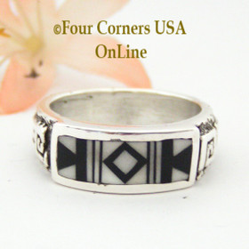 Size 10 Black White Deco Inlay Sterling Ring Navajo Artisan Four Corners USA OnLine Native American Silver Jewelry NAR-13023