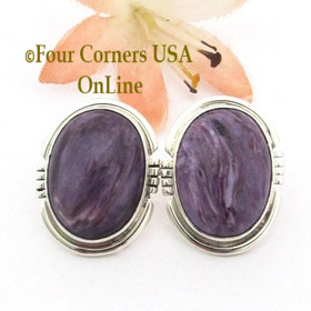 Charoite Sterling Silver Post Earrings by Native American Indian Artisan Arkge Nelson  Four Corners USA OnLine Navajo Silver Jewelry NAER-13074
