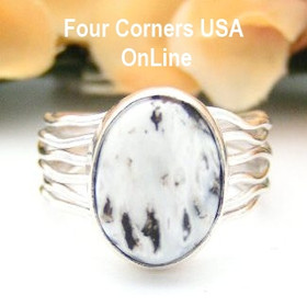 Sacred White Buffalo Turquoise Ring Size 8 in Sterling Silver by Navajo Artisan Murphy Platera NAR-13048 Four Corners USA OnLine Native American Jewelry