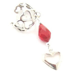 Heart Design Sterling Ear Cuff with Heart Drop and Red Velvet Crystal (FCE-12067)