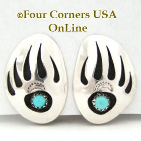 Badger (Bear) Paw Clip On Earrings Native American Navajo Jewelry by Ervin Begay Four Corners USA OnLine Native American Jewelry NAER-13076