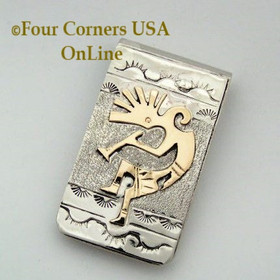 Kokopelli 12KGF and Sterling Money Clip Native American Jewelry Navajo Artisan Genevieve Jones NAM-09115KB Four Corners USA OnLine