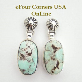 Dry Creek Turquoise Stone Dangle Post Earrings Navajo Silversmith Sharon Francisco Four Corners USA OnLine Native American Jewelry Store NAER-13087