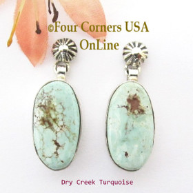 Dry Creek Turquoise Stone Dangle Post Earring Navajo Artisan Sharon Francisco Four Corners USA Online Native American Silver Jewelry NAER-13088