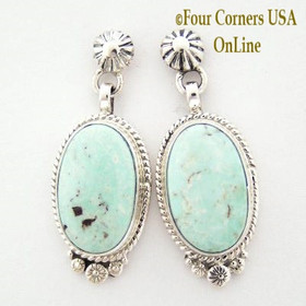 Dry Creek Turquoise Sterling Silver Post Earrings Navajo Artisan Shirley Henry Four Corners USA OnLine Native American Jewelry Store NAER-13091