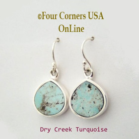 Contemporary Dry Creek Turquoise Dangle Earrings Four Corners USA OnLine Native American Silver Jewelry by Navajo Rick Tolino NAER-13097