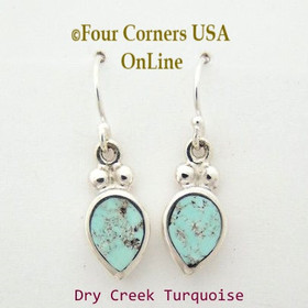 Dry Creek Turquoise Stone Wire Earrings Native American Navajo Sterling Silver by Ervin Hoskie Four Corners USA OnLine NAER-13094