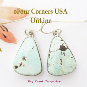 Dry Creek Turquoise Stone Sterling Silver Wire Earrings Navajo Sharon Francisco Four Corners USA OnLine  Native American Jewelry NAER-13102