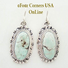 Dry Creek Turquoise Stone Sterling Silver Wire Earrings Native American Navajo Nita Edsitty Four Corners USA OnLine Jewelry Store NAER-13103