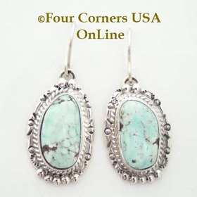 Dry Creek Turquoise Sterling Silver Wire Earrings Navajo Artisan Nita Edsitty Four Corners USA OnLine Native American Jewelry Store NAER-13105