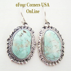 Large Dry Creek Turquoise Earrings with Ornate Sterling Setting Navajo Nita Edsitty Four Corners USA OnLine American Indian Silver Jewelry NAER-13104