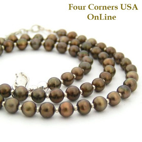 5mm Bronze Freshwater Pearls 16 to 19 Inch Adjustable Beaded Necklace (FCN-13007) Four Corners USA OnLine Artisan Jewelry