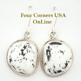 Sacred Buffalo Stone Sterling Earrings Navajo Artisan Lester Jackson Four Corners USA OnLine Native American Silver Jewelry (NAER-1401)