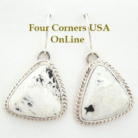 Sacred Buffalo Stone Sterling Earrings Navajo Artisan Tony Garcia Native American Silver Jewelry (NAER-1402) Four Corners USA OnLine