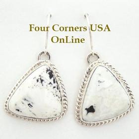Sacred Buffalo Stone Sterling Earrings Navajo Artisan Tony Garcia Native American Silver Jewelry (NAER-1402) Four Corners USA OnLine