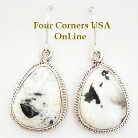 White Buffalo Turquoise Stone Sterling Earrings by Lester Jackson Four Corners USA OnLine Native American Silver Jewelry (NAER-1404)
