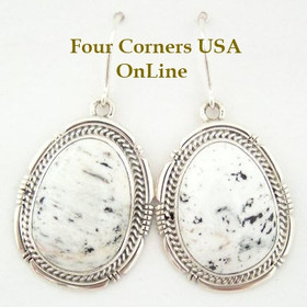 Sampson Jake White Buffalo Turquoise Stone Sterling Earrings Four Corners USA Native American Silver Jewelry (NAER-1406)