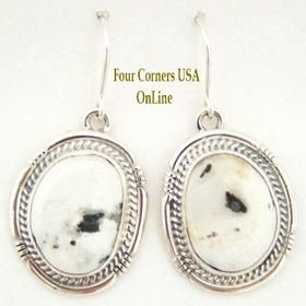 White Buffalo Turquoise Sterling Silver Earrings by Sampson Jake Native American Silver Jewelry (NAER-1409) Four Corners USA OnLine