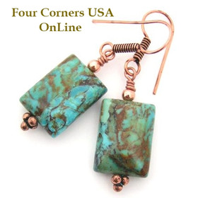 Kingman Boulder Turquoise Copper Artisan Dangle Bead Earrings (FCE-12079) Four Corners USA OnLine Artisan Jewelry
