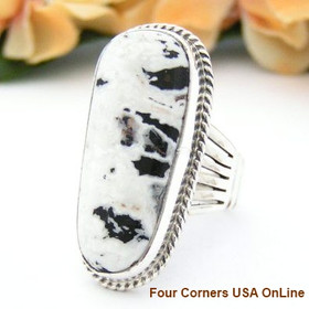 White Buffalo Turquoise Ring Size 9 by Navajo Artisan Tony Garcia NAR-1425 Four Corners USA OnLine Native American Silver Jewelry